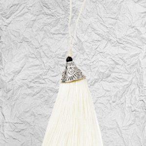 Λευκή Διακοσμητική Φούντα 3425251 με Μεταλλικό Καπάκι 8cm