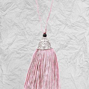 Ροζ Διακοσμητική Φούντα 3425252 με Μεταλλικό Καπάκι 8cm