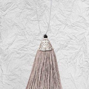 Γκρι Διακοσμητική Φούντα 3425254 με Μεταλλικό Καπάκι 8cm