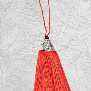 Κόκκινη Διακοσμητική Φούντα 3425257 με Μεταλλικό Καπάκι 8cm