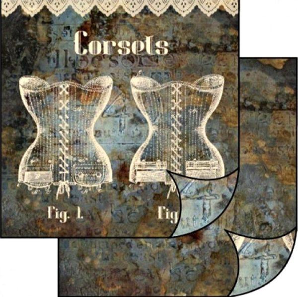 Χαρτί Scrapbooking 5001501 Stamperia Διπλής Όψης  - Laces and Corsets - 31x30cm