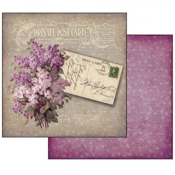 Χαρτί Scrapbooking 5001504 Stamperia Διπλής Όψης - Postcard Lilac - 31x30cm