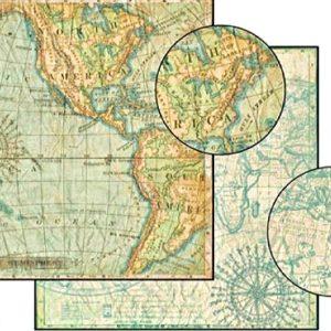 Χαρτί Scrapbooking 5001513 Stamperia Διπλής Όψης   - Geography America - 31x30cm