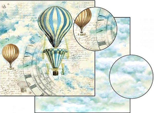 Χαρτί Scrapbooking 5001514 Stamperia Διπλής Όψης  - Le Ballon and Clock - 31x30cm