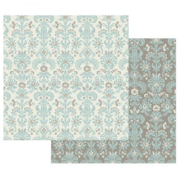 Χαρτί Scrapbooking 5001525 Stamperia Διπλής Όψης - Wallpaper on Turquoise - 31x30cm