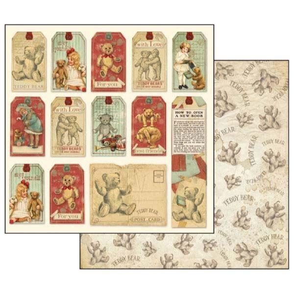 Χαρτί Scrapbooking 5001709 Stamperia Διπλής Όψης - Teddy Bear Tag - 31x30cm