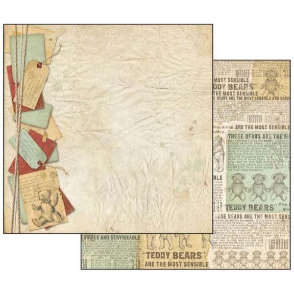 Χαρτί Scrapbooking 5001710 Stamperia Διπλής Όψης - Teddy Bear Newspaper - 31x30cm
