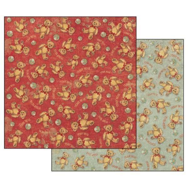 Χαρτί Scrapbooking 5001711 Stamperia Διπλής Όψης - Teddy Bear Texture - 31x30cm