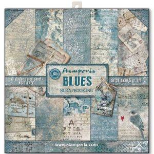 Σετ 10 Χαρτιά 5001713 Scrapbooking Stamperia Διπλής Όψης - Blues - 30x30cm