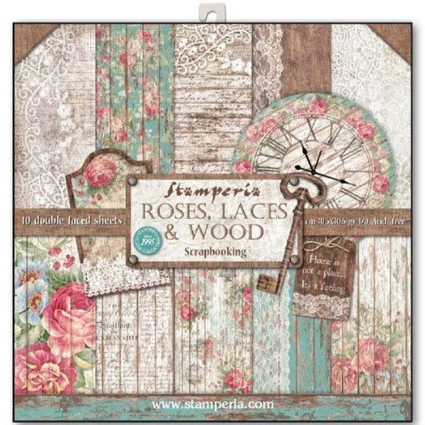 Σετ 10 Χαρτιά 5001714 Scrapbooking Stamperia Διπλής Όψης - Roses, Lace & Wood - 30x30cm