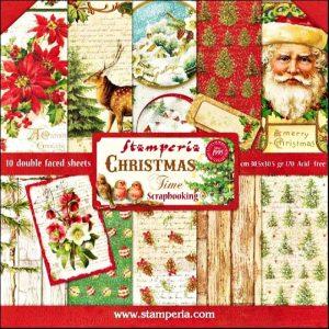 Σετ 10 Χαρτιά 5001716 Scrapbooking Stamperia Διπλής Όψης - Christmas Time - 30x30cm