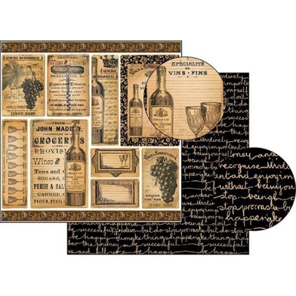 Χαρτί Scrapbooking 5001760 Stamperia Διπλής Όψης - Wine - 31x30cm