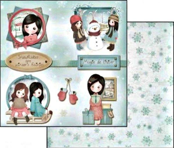 Χαρτί Scrapbooking 5001781 Stamperia Διπλής Όψης  - Emma & Camille Winter - 31x30cm
