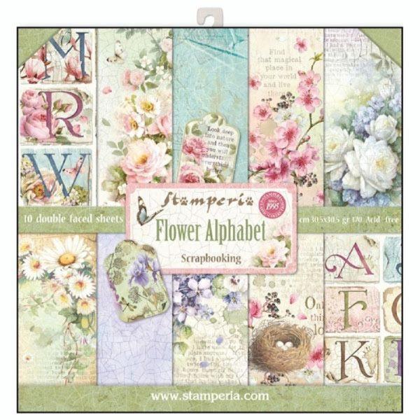 Σετ 10 Χαρτιά 5002010 Scrapbooking Stamperia Διπλής Όψης - Flower Alphabet - 30x30cm