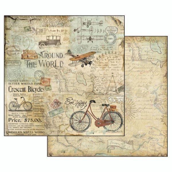 Χαρτί Scrapbooking 5002033 Stamperia Διπλής Όψης  - Around The World Tour Bike - 31x30cm