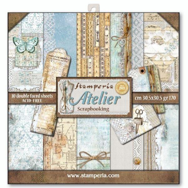 Σετ 10 Χαρτιά 5002045 Scrapbooking Stamperia Διπλής Όψης - Atelier - 30x30cm