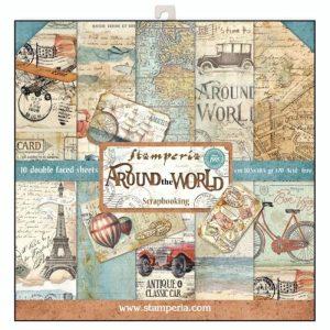 Σετ 10 Χαρτιά 5002048 Scrapbooking Stamperia Διπλής Όψης - Around the World - 30x30cm