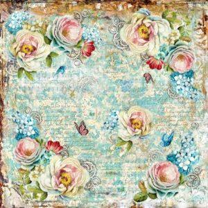 Ριζόχαρτο Χαρτοπετσέτας 5002068 - Λευκά Τριαντάφυλλα & Γρανάζια - 50x50cm