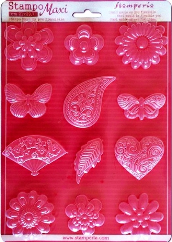 Εύκαμπτο Καλούπι Stamperia 5002096 για Σαπούνι-Γύψο  - 21x29.7cm - Λουλούδια & Πεταλούδες