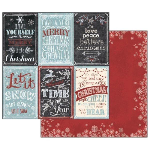 Χαρτί Scrapbooking 5002102 Stamperia Διπλής Όψης - Χριστουγεννιάτικες Κάρτες - 31x30cm