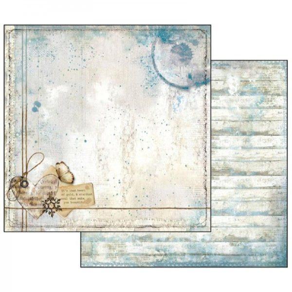 Χαρτί Scrapbooking 5002126 Stamperia Διπλής Όψης - Blue Stars Heart and Writings - 31x30cm