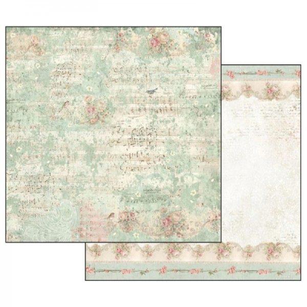 Χαρτί Scrapbooking 5002127 Stamperia Διπλής Όψης - Sweet Christmas Music Notes and Sparrow - 31x30cm