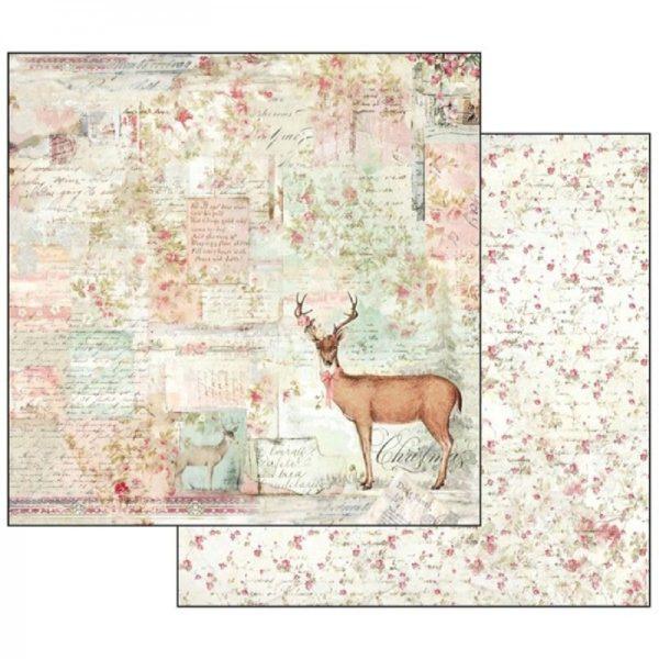 Χαρτί Scrapbooking 5002128 Stamperia Διπλής Όψης - Sweet Christmas Moose - 31x30cm