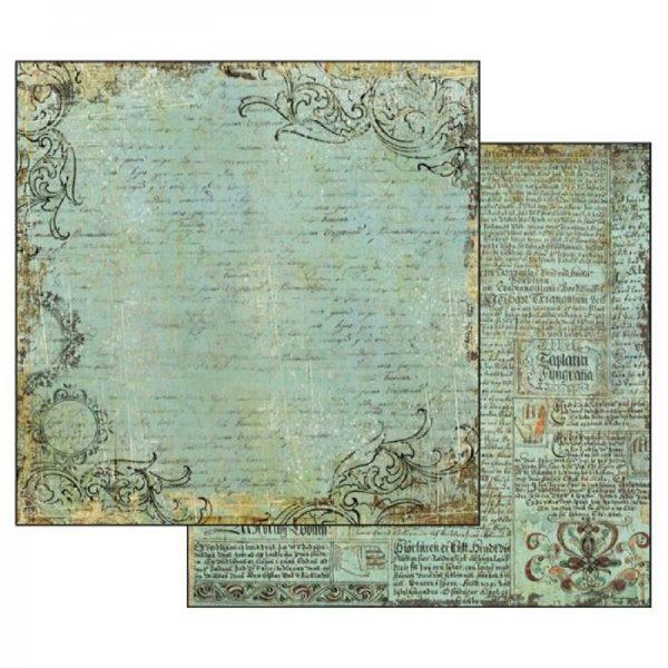 Χαρτί Scrapbooking 5002136 Stamperia Διπλής Όψης  - Alchemy Manuscript Turquoise Background - 31x30cm