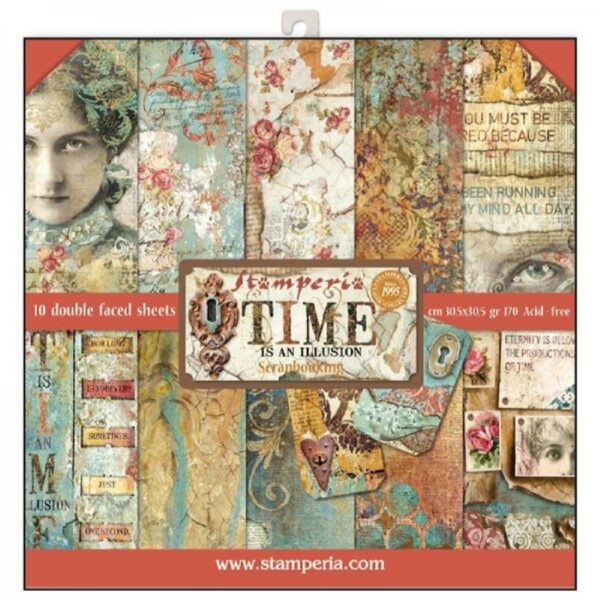 Σετ 10 Χαρτιά 5002139 Scrapbooking Stamperia Διπλής Όψης - Time is an Illusion - 30x30cm
