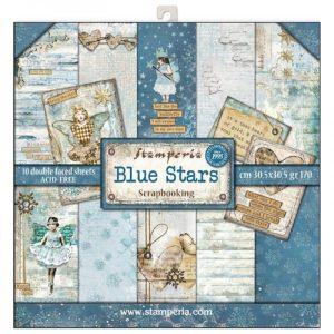 Σετ 10 Χαρτιά 5002141 Scrapbooking Stamperia Διπλής Όψης  - Blue Stars - 30x30cm