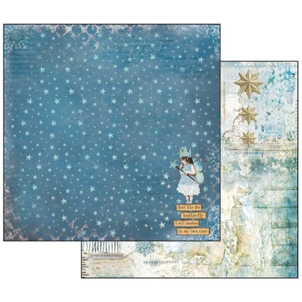 Χαρτί Scrapbooking 5002192 Stamperia Διπλής Όψης  - Blue Stars/Magic Wand - 31x30cm