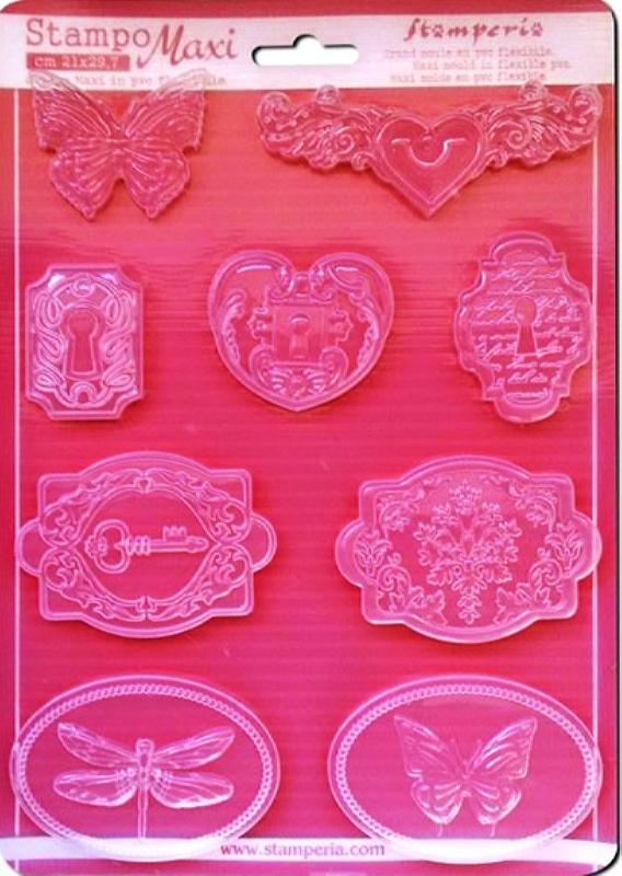 Εύκαμπτο Καλούπι για Σαπούνι-Γύψο 5002285 - 21x29.7cm - Ρομαντικά Καμέο & Κλειδαριές