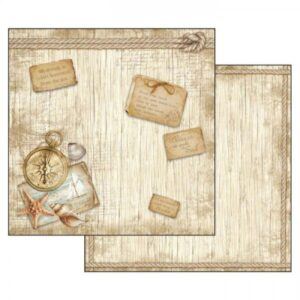 Χαρτί Scrapbooking 5002305 Stamperia Διπλής Όψης - Sea Land Compass - 31x30cm