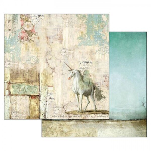 Χαρτί Scrapbooking 5002314 Stamperia Διπλής Όψης - Wonderland Unicorn - 31x30cm