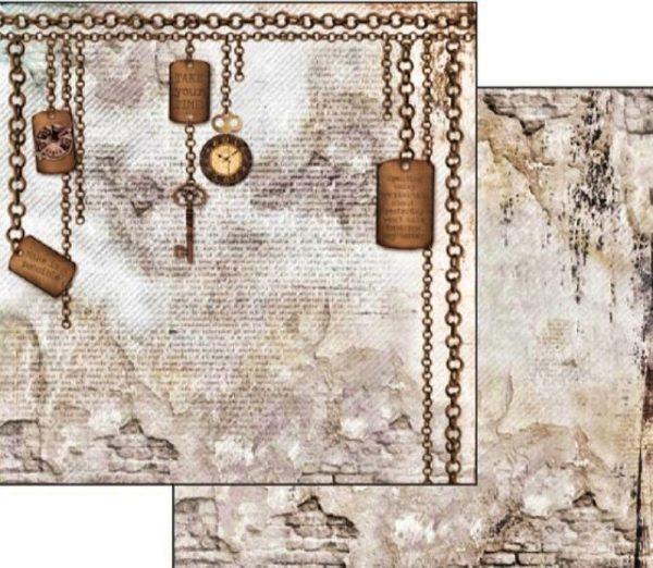 Χαρτί Scrapbooking 5002315 Stamperia Διπλής Όψης - Clockwise Chain & Keys - 31x30cm