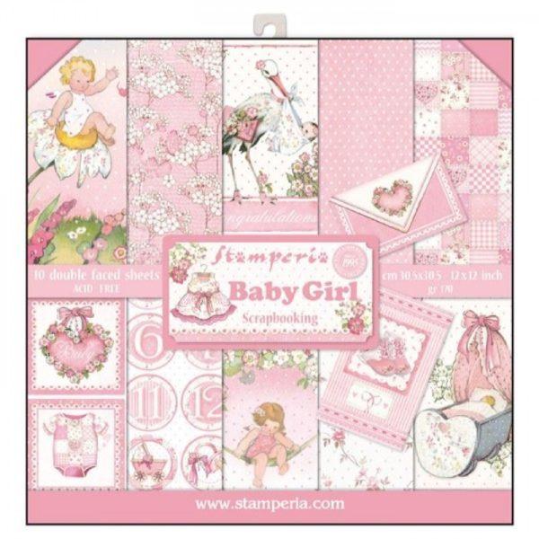 Σετ 10 Χαρτιά 5002320 Scrapbooking Stamperia Διπλής Όψης - Baby Girl - 30x30cm