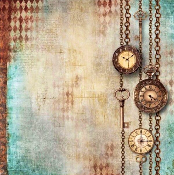 Ριζόχαρτο Χαρτοπετσέτας 5002381 - Vintage Ρολόγια - Κλειδιά - 50x50cm