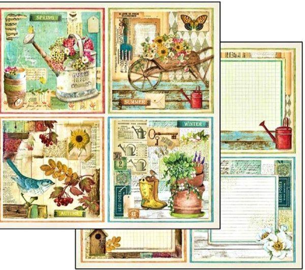 Χαρτί Scrapbooking 5002400 Stamperia Διπλής Όψης  - Κάρτες Κήπος - 31x30cm
