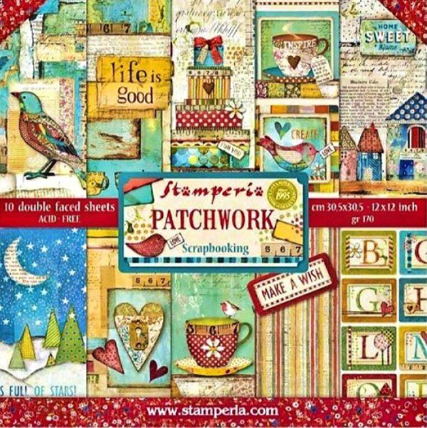 Σετ 10 Χαρτιά 5002414 Scrapbooking Stamperia Διπλής Όψης  - Patchwork - 30x30cm