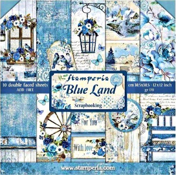 Σετ 10 Χαρτιά 5002415 Scrapbooking Stamperia Διπλής Όψης - Blue Land - 30x30cm