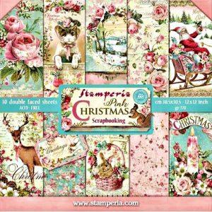 Σετ 10 Χαρτιά 5002416 Scrapbooking Stamperia Διπλής Όψης  - Pink Christmas - 30x30cm