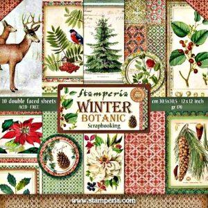 Σετ 10 Χαρτιά 5002418 Scrapbooking Stamperia Διπλής Όψης - Winter Botanic - 30x30cm