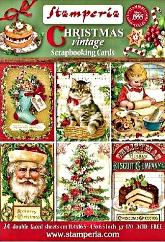 Σετ 24 Κάρτες 5002420 Scrapbooking Stamperia Διπλής Όψης - Christmas Vintage - 11.4x16.5cm