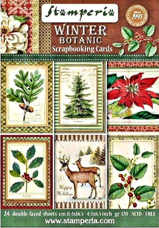 Σετ 24 Κάρτες 5002421 Scrapbooking Stamperia Διπλής Όψης  - Winter Botanic - 11.4x16.5cm