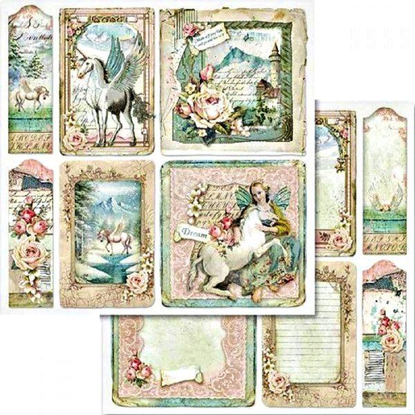 Χαρτί Scrapbooking 5002423 Stamperia Διπλής Όψης  - Μονόκερος & Κάρτες - 31x30cm5002423