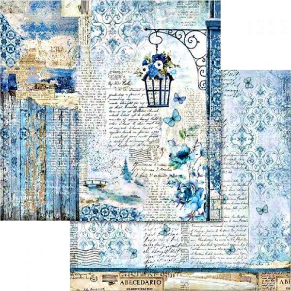 Χαρτί Scrapbooking 5002426 Stamperia Διπλής Όψης - Blue Land & Street Lamp - 31x30cm