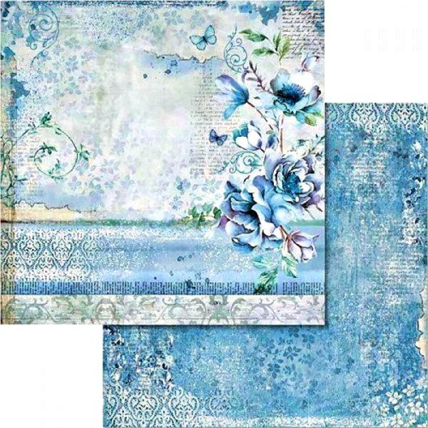 Χαρτί Scrapbooking 5002427 Stamperia Διπλής Όψης - Blue Land & Λουλούδι - 31x30cm
