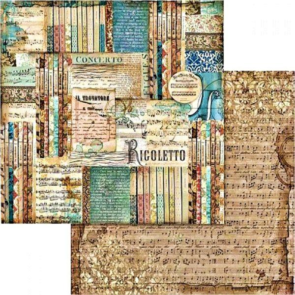Χαρτί Scrapbooking 5002428 Stamperia Διπλής Όψης - Μουσική & Rigoletto - 31x30cm
