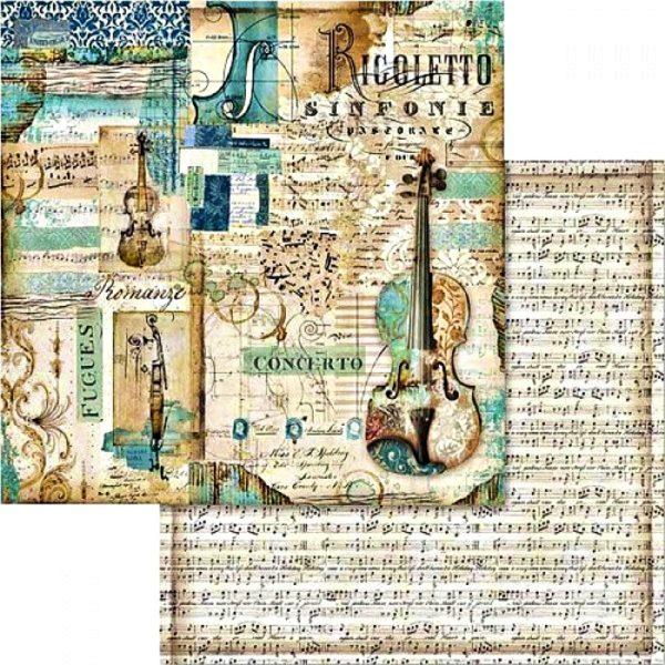 Χαρτί Scrapbooking 5002429 Stamperia Διπλής Όψης  - Μουσική & Βιολί - 31x30cm