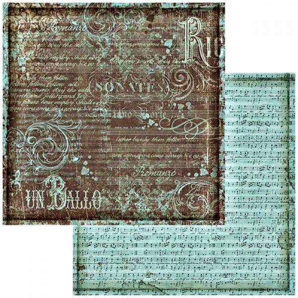 Χαρτί Scrapbooking 5002430 Stamperia Διπλής Όψης  - Μουσική & Τυρκουάζ Παρτιτούρα - 31x30cm